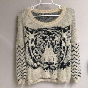 NWOT! Cream Super Fuzzy Tiger & Stripes Sweater